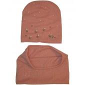 Комплект детский шапка+шарф для девочек с жемчугом