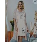 Комплект женский 61102 халат+сорочка х-б MISS VICTORIA