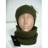 Комплект мужской шапка и шарф на флисе