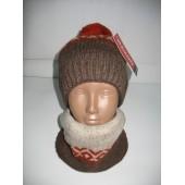 Комплект мужской шапка и шарф широкий
